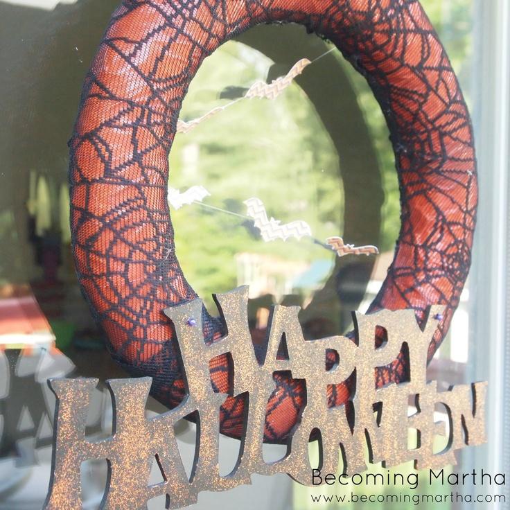Spiderweb Lace Halloween Wreath - This is actually pretty frugal to make!: Lace Halloween, Pretty Frugal, Spiderweb Lace, Frugal Halloween, Finding Bliss, Halloween Wreaths