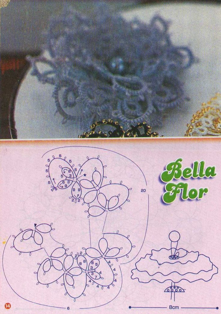 tatting rose 3D flower with pattern