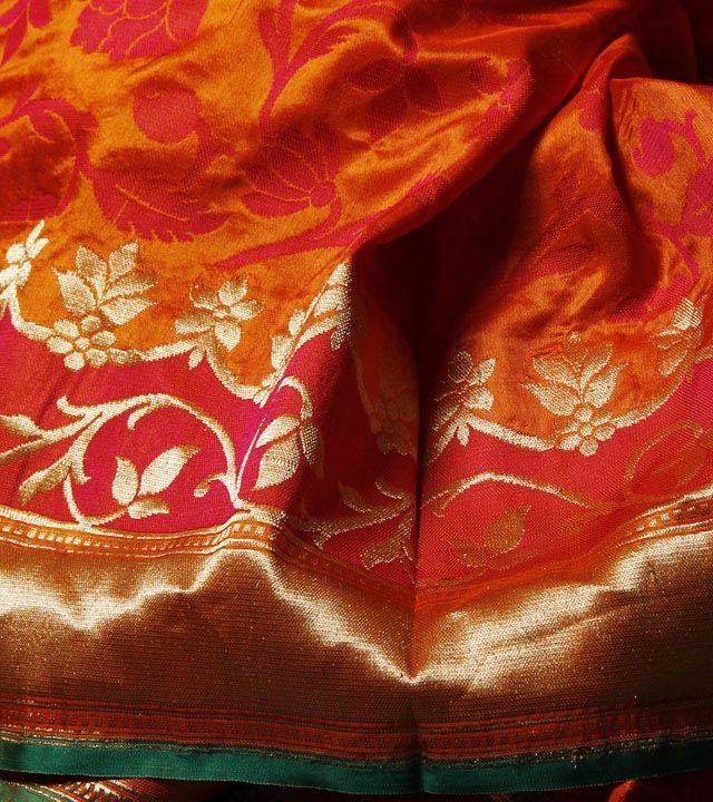 Orange Banarasi Silk Saree with Jaal Work
