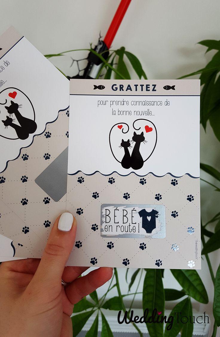 """Annonce grossesse, annonce naissance originale: la carte à gratter """"bébé en route!"""" ©weddingtouch"""
