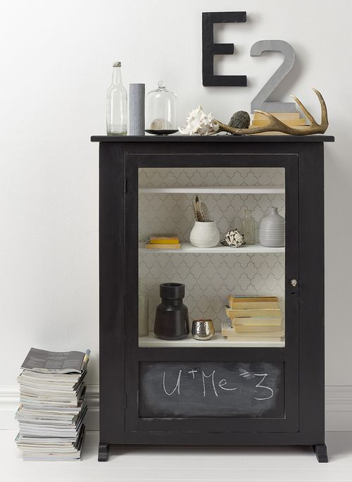 Black-painted furniture looks superb in any setting. And finished with Resene Blackboard Paint, it gains another dimension. The walls are painted in Resene Quarter Alabaster and the back panel of the cabinet is stencilled in Resene Half Delta.