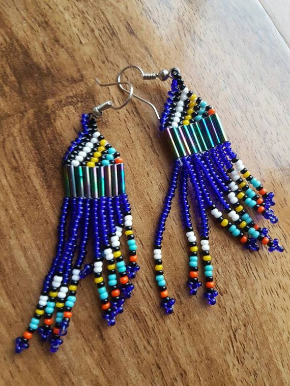 Check out this item in my Etsy shop https://www.etsy.com/uk/listing/507030815/blue-zulu-earrings