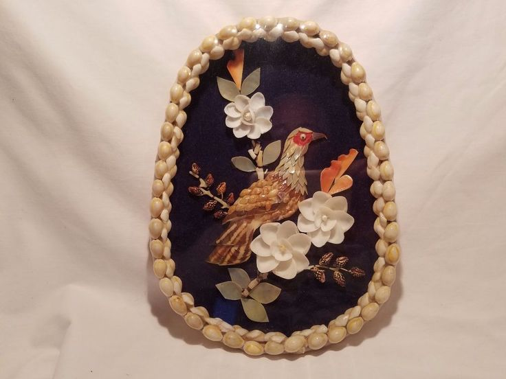 Hand-made Bird Shell Art Basket Frame Shadow Box Vintage Original Antique rh