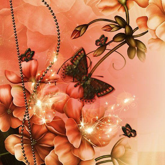 Wonderful flowers with butterflies