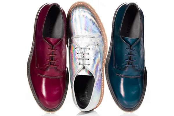 Lavin showing men dig colour and shine as much as ladies #fashion #shoes #lanvin #iridescent #gloss #brogues #menswear #style