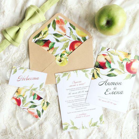 Свадебные аксессуары ручной работы. Ярмарка Мастеров - ручная работа. Купить Акварельные свадебные приглашения Летние фрукты. Handmade. Приглашение