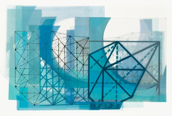 Amanda Knowles. Faceted I, 2012. Screen print and acrylic with hand cutting on Duralar. 16-1/2 x 23-1/4 inches.