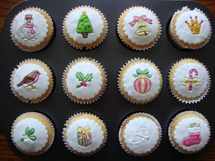 """November 2013 - vanilla cupcakes with hand-""""painted"""" edible stamped images on fondant"""
