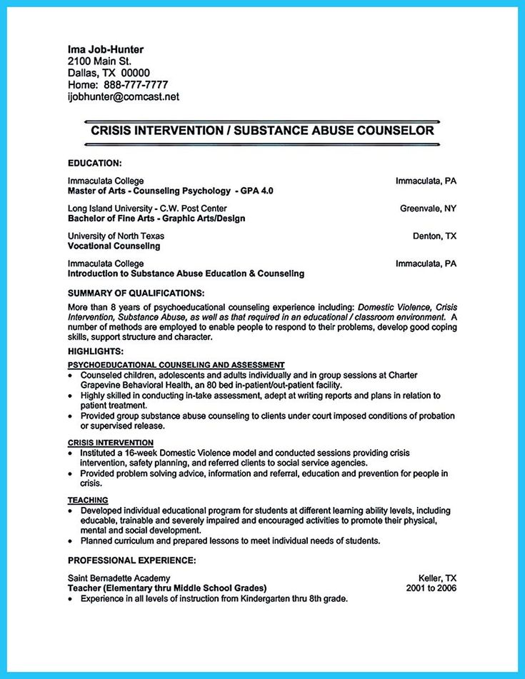 awesome Outstanding Counseling Resume Examples to Get Approved,