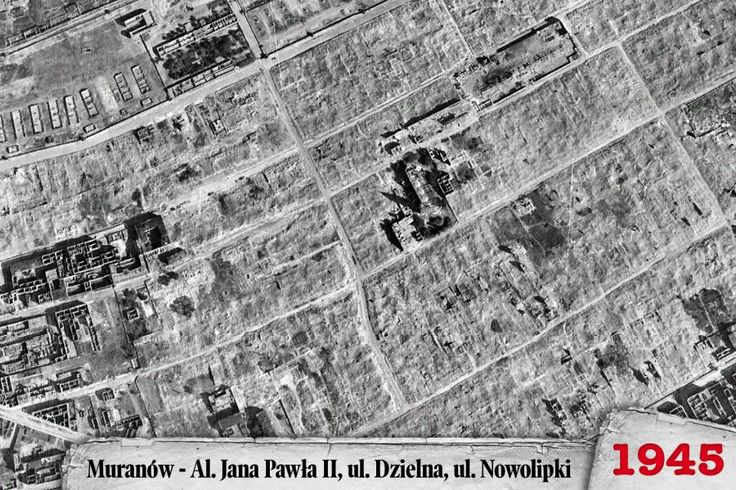Year 1945 - aerial view over Muranow - the Jewish quarter in Warsaw, Poland