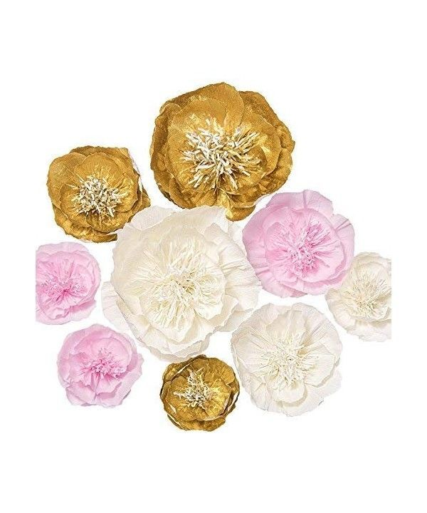 Paper Flowers Decorations Set Of 9 Handcrafted Large Crepe Paper