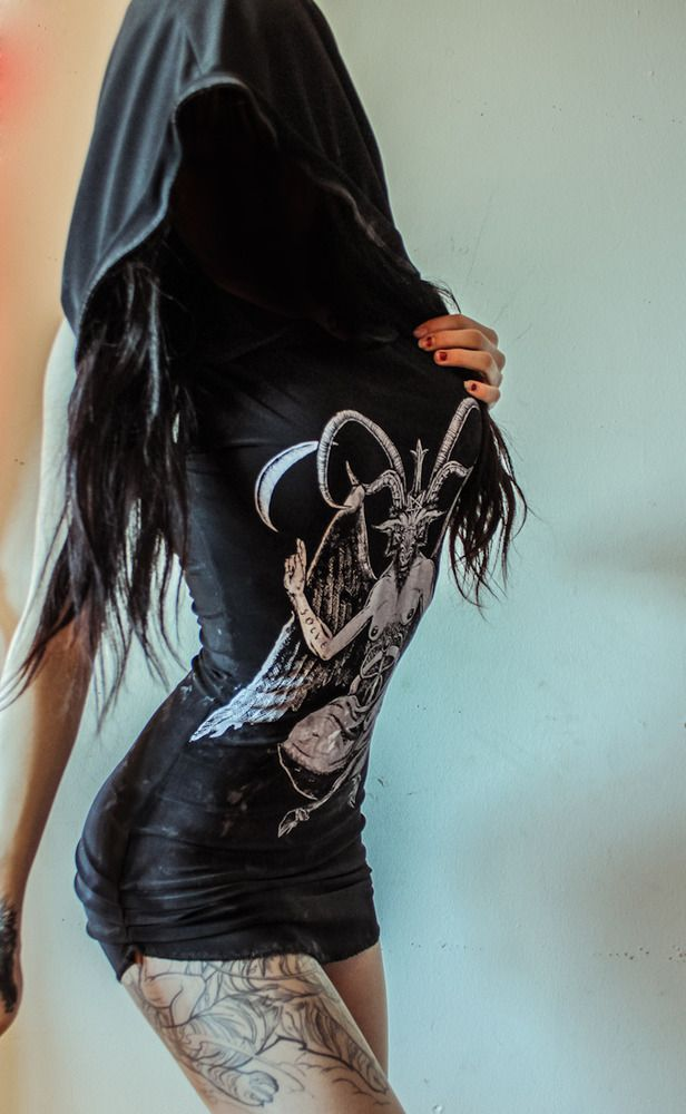 Image of TOXIC VISION Easywear hooded destroyed baphomet dress http://www.toxicvision.bigcartel.com/product/toxic-vision-easywear-hooded-baphomet-dress