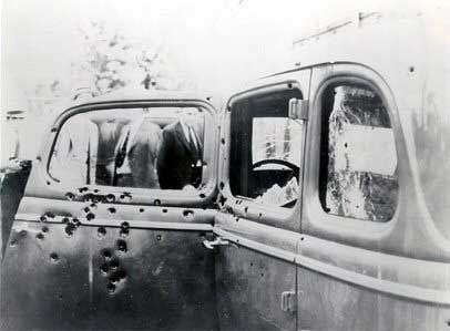 Bonnie and Clyde were the infamous American gangsters of the Great Depression. Their exploits have been glamorized through the years, but the duo's gang most often robbed small stores and rural gas stations.    The two met a bloody demise when they were ambushed by law officers near Sailes, Bienville Parish, Louisiana, in 1934. Their bullet-riddled car is seen here.