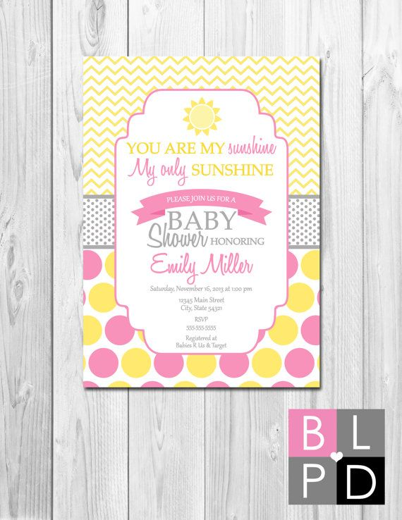 Beautiful You Are My Sunshine Baby Shower Invitation   Yellow Grey And Pink Stripes  And Chevron Stripes   Printable