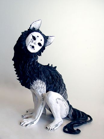 """Qing"" by yuumei  Score: 59/100    ARTINFO: Yoshitomo Nara this surreal ceramic sculpture is not. The monstrous humanoid wolf has a face like a Noh mask and Chinese characters spotting its white skin. The black surfaces are painted with sumi ink, another traditionally Asian medium. We bet Kiki Smith would appreciate it."