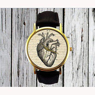 Signore dell'annata della vigilanza di cuoio orologio cuore della vigilanza delle donne degli orologi regalo della vigilanza degli uomini ( Colore : Nero , Sesso : Donna )