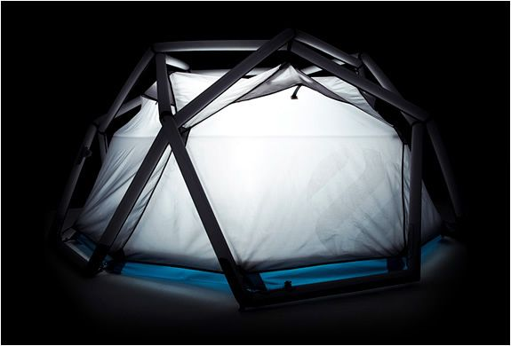 I suppose the inflatable Cave Tent by Heimplanet is for those of you that either despise sliding the traditional metal rods through fabric loops, or have a severe phobia of being swept away by a flash flood while you sleep. Either way, this tent will have you covered in under a minute.