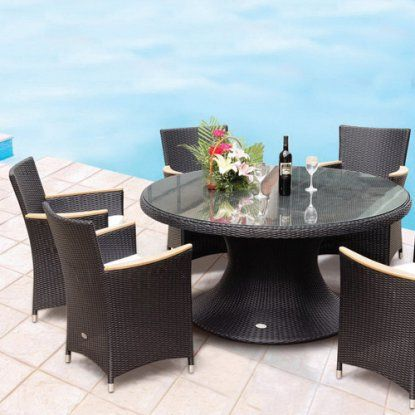 Royal Teak 60 in. Helena Full Weave Patio Dining Set - Seats 6 - Patio Dining Sets at Hayneedle