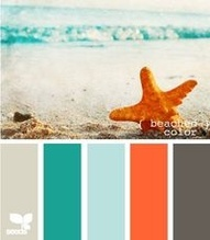 teal and coral color scheme.  Love these colors together!