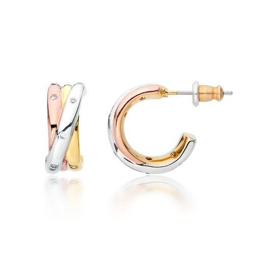 Trinity Tri-Coloured Hoop Earrings