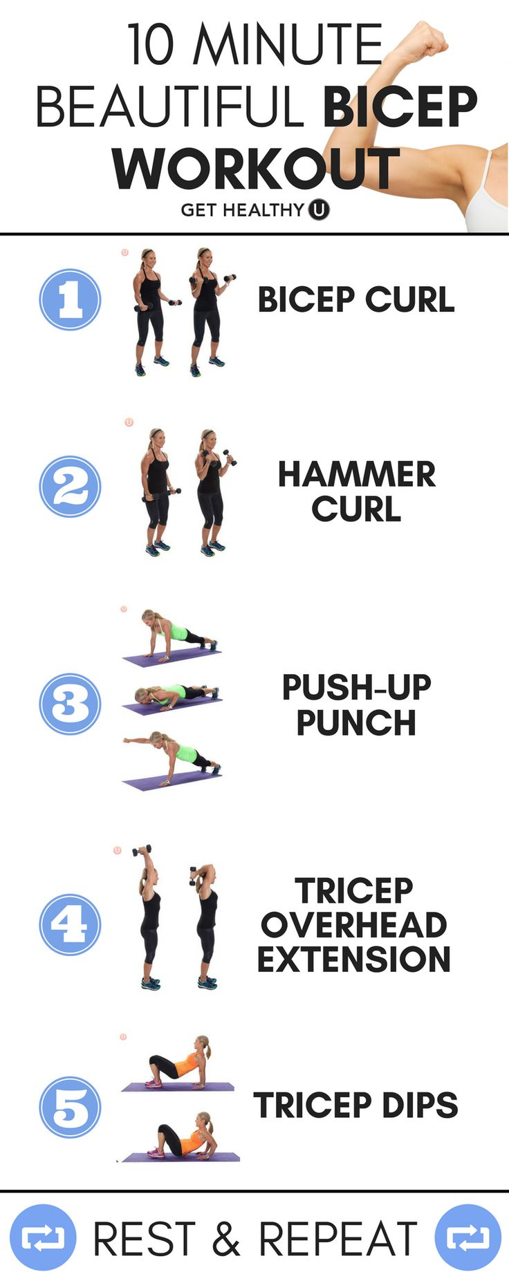 If you want beautiful biceps, try this 10 minute beautiful bicep workout! These 5 moves will tone those arms and have you feeling super confident! This quick workout is easy to do, requires minimal equipment and you can do it at home!
