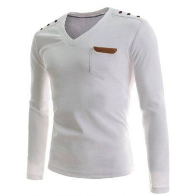 Material: Cotton, Polyester, Faux Leather  Sleeve Length: Full  Collar: V-Neck  Style: Fashion  Weight: 0.210KG  Package Contents: 1 x T-Shirt  Embellishment: Fur  Pattern Type: Solid  Our SizeBustLengthShoulder WidthSleeve Length M96664262 L100684363 XL104704464 2XL...