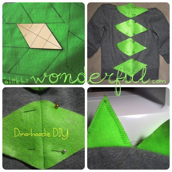 DIY: Dino-hoodie. #halloween #costume #diy #dinosaur  a Little Bit Wonderful: