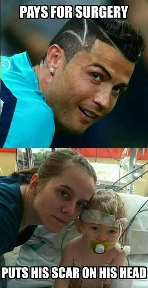 For all you laughing at Cristiano Ronaldo's haircut, helped a baby to survive. Ronaldo's got the exact same scar that the baby had, after the head surgery. Ronaldo payed 50,000 Euros for his surgery. #RESPECT