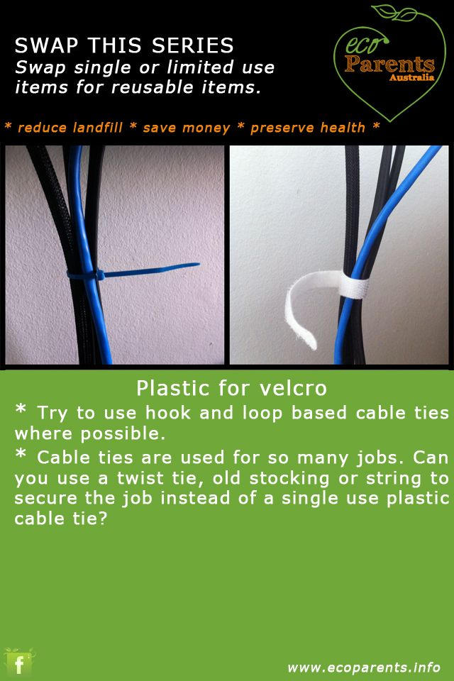 Secure your cable with a reusable hook and loop tie instead of single use plastic versions.