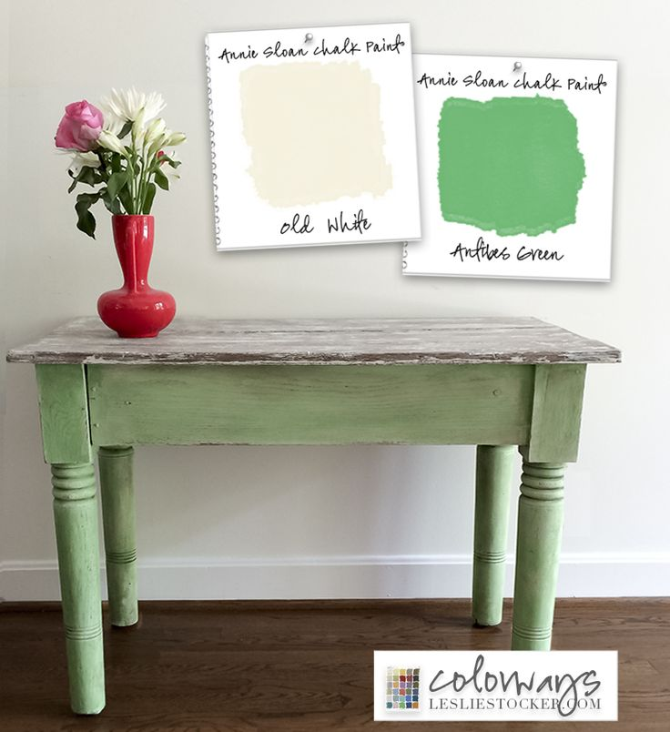 COLORWAYS   Old Table, New Look Annie Sloan ChalkPaint® Antibes Green, Old White www.lesliestocker.com