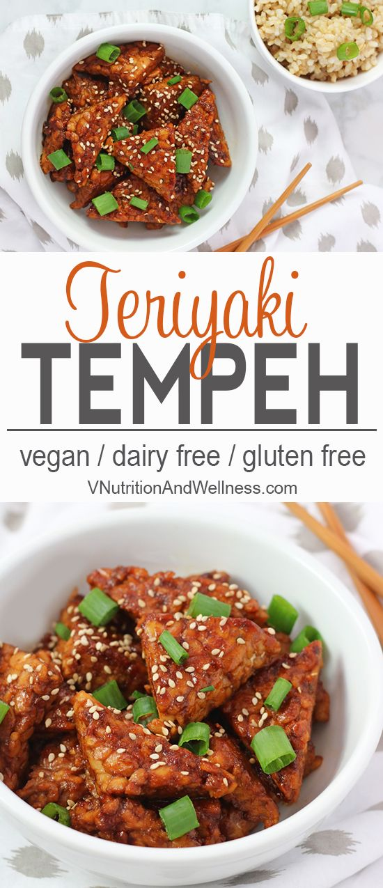 Teriyaki Tempeh | This Teriyaki Tempeh makes a delicious protein addition to any meal. Not sure what tempeh is? Read on to find out! vegan recipe, gluten-free, vegetarian recipe, tempeh recipe, teriyaki sauce via @VNutritionist