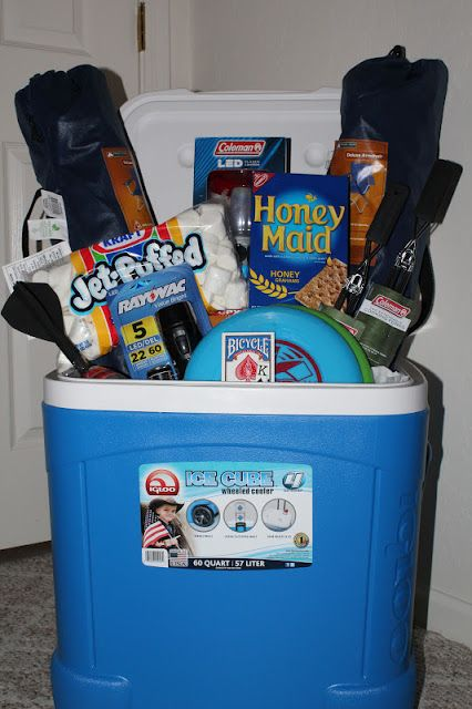 Camping gift basket - great group gift for young newlyweds  http://campbellcuties.blogspot.com/2012/03/team-momagain.html