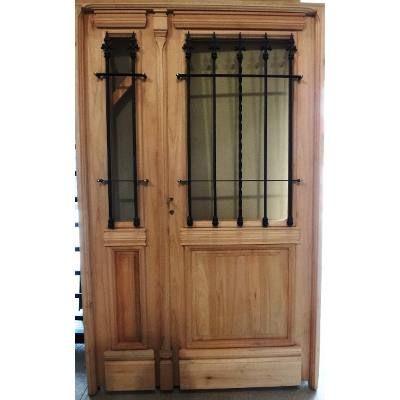Puerta y media abrir madera exterior 1 2 reja colonial - Puerta madera antigua ...