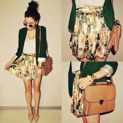 Cute & Chic. Green Blazer & Floral Skirt.