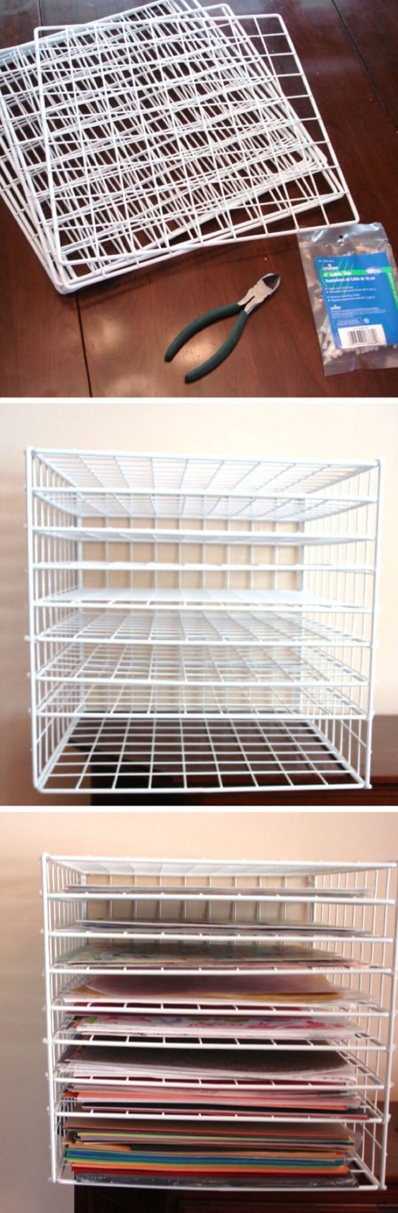 'Scrapbook paper storage solutions...!' (via Cat's Creations)     Personally, I think I'd use this as a drying rack for painted/inked projects. Or even for letting glue or air-dry clay set.