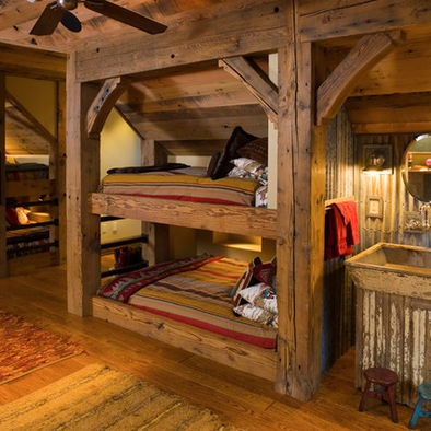 11 best images about rustic bunkhouse on pinterest house design bedrooms and kid beds. Black Bedroom Furniture Sets. Home Design Ideas