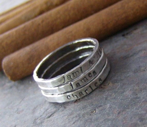 Personalized stackable stacking rings...hand stamped fine silver stacking rings.. $18.00, via Etsy.