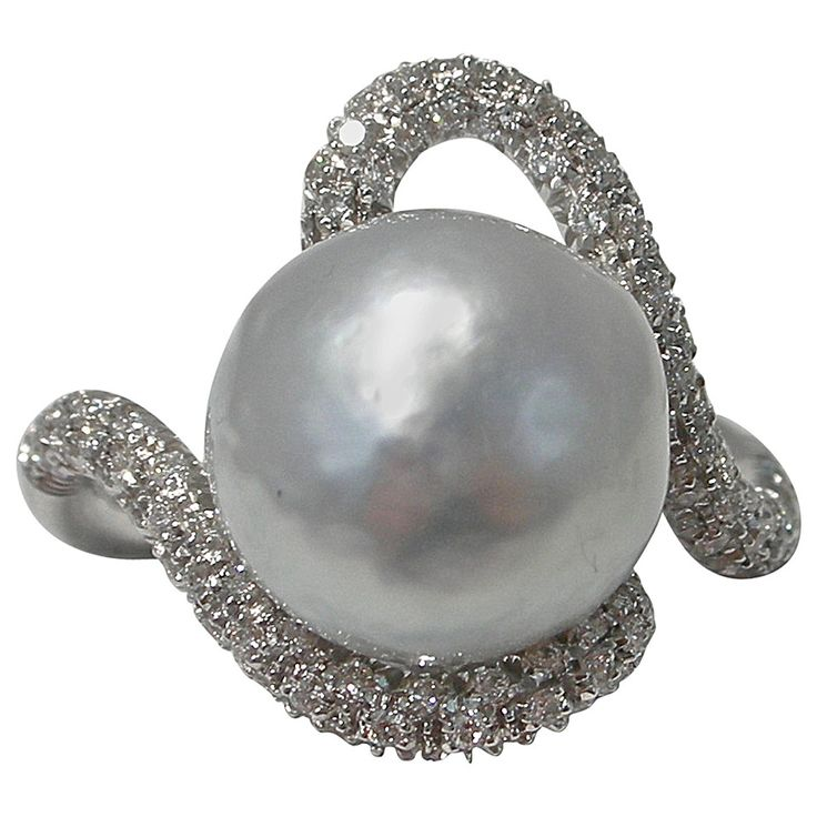 Jona Baroque Pearl Diamond Gold Ring   From a unique collection of vintage cocktail rings at https://www.1stdibs.com/jewelry/rings/cocktail-rings/