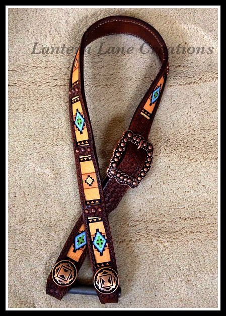 Dark oil belt headstall, basketweave stamped, southwest pattern with antique copper hardware.