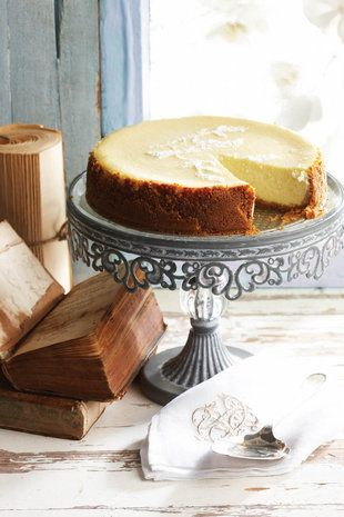 Creamy baked cheesecake and a book; desserts; books; cafe; coffee http://www.pinterest.com/SheriJaus/book-cafe/