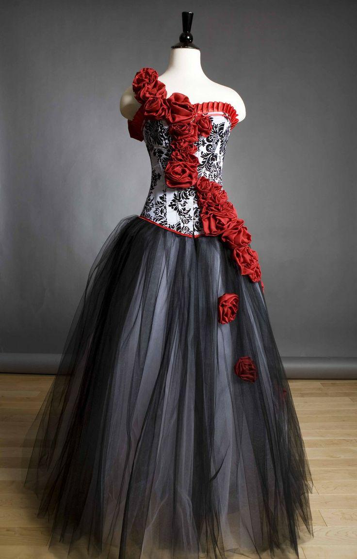 Quincera Dresses Masquerade Red and Black Corset