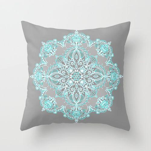 teal and aqua lace mandala on grey throw pillow - Grey Throw Pillows