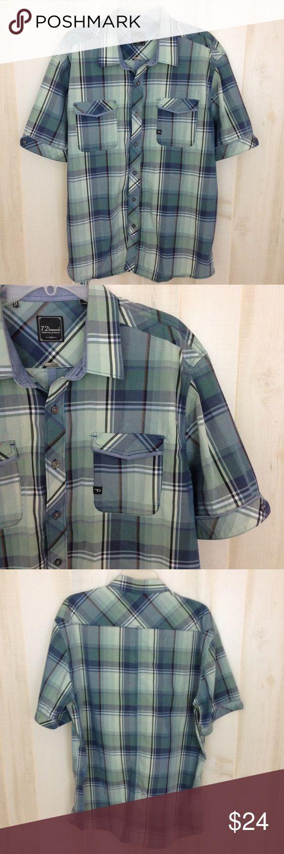 Shirt design measurements - 7 Diamonds Green Blue Plaid Diamonds Shirt Xxl Brand 7 Diamonds Style Men S Button