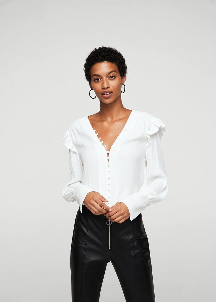 Buttoned flowy blouse -  Women | MANGO USA