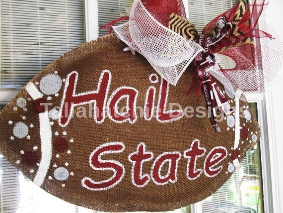 Mississippi State Burlap Football Door by TallahatchieDesigns