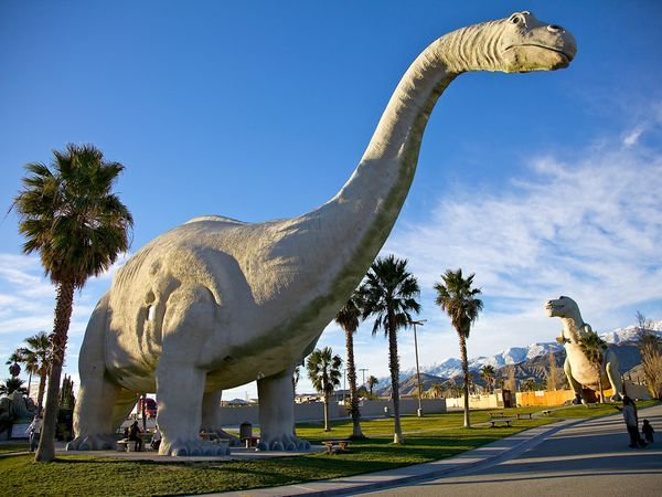 Cabazon Dinosaurs, Cabazon, California    Climb to the top of a life-size Tyrannosaurus rex for an up-close view of its teeth at this real-world Jurassic park. Purchase souvenirs at a museum shop located inside Ms. Dinny, a 150-ton Apatosaurus considered the largest concrete dino in the world.