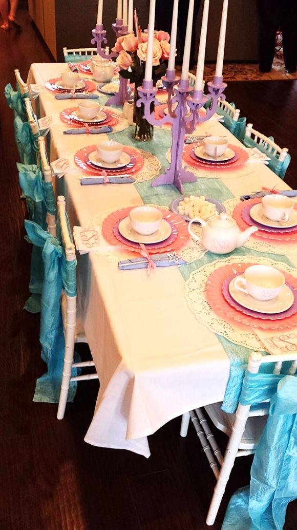 A Princess Tea Party – Children's Birthday Party | Girl's Birthday Party Ideas | Tea Party Table | Mini White Chiavari Chairs | Pink Purple Blue Decor