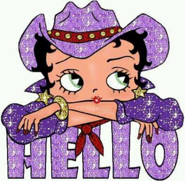 """Glittery purple cowgirl """"Hello"""""""