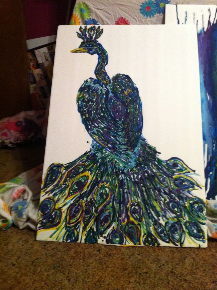 Melted Crayon Art, draw a design then stick crayons ...
