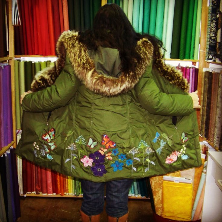 Custom winter coat designed and embroidered by bridalbymaryrose.ca